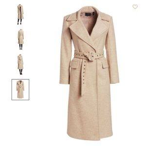 Theory Perfect Belted Wool-Blend Trench Coat Camel